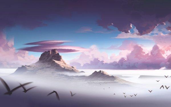Artistic Mountain Cloud Bird Sky HD Wallpaper | Background Image