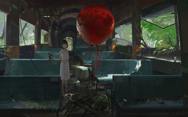 Anime Original Balloon Train Abandoned HD Wallpaper | Background Image