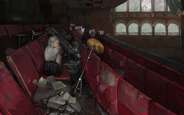 Anime Original Theater Piano Drum Set HD Wallpaper | Background Image
